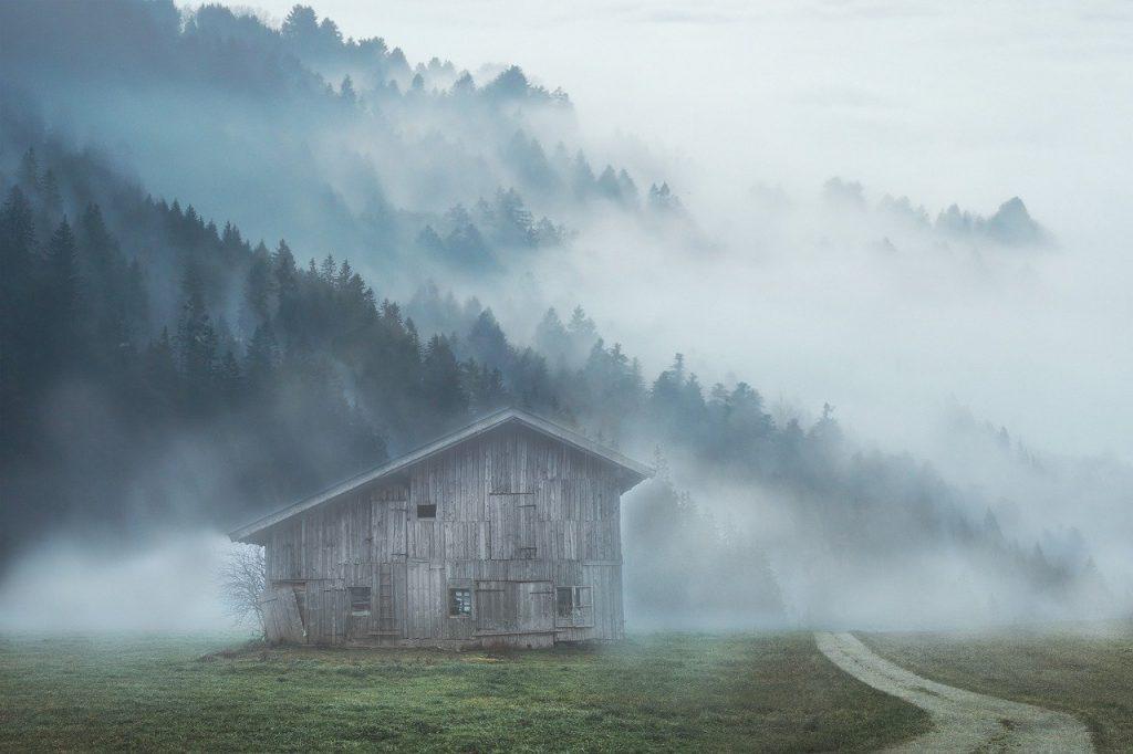 landscape, mountain, cabin